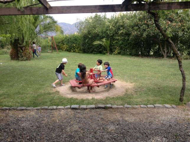 niños en carrusel